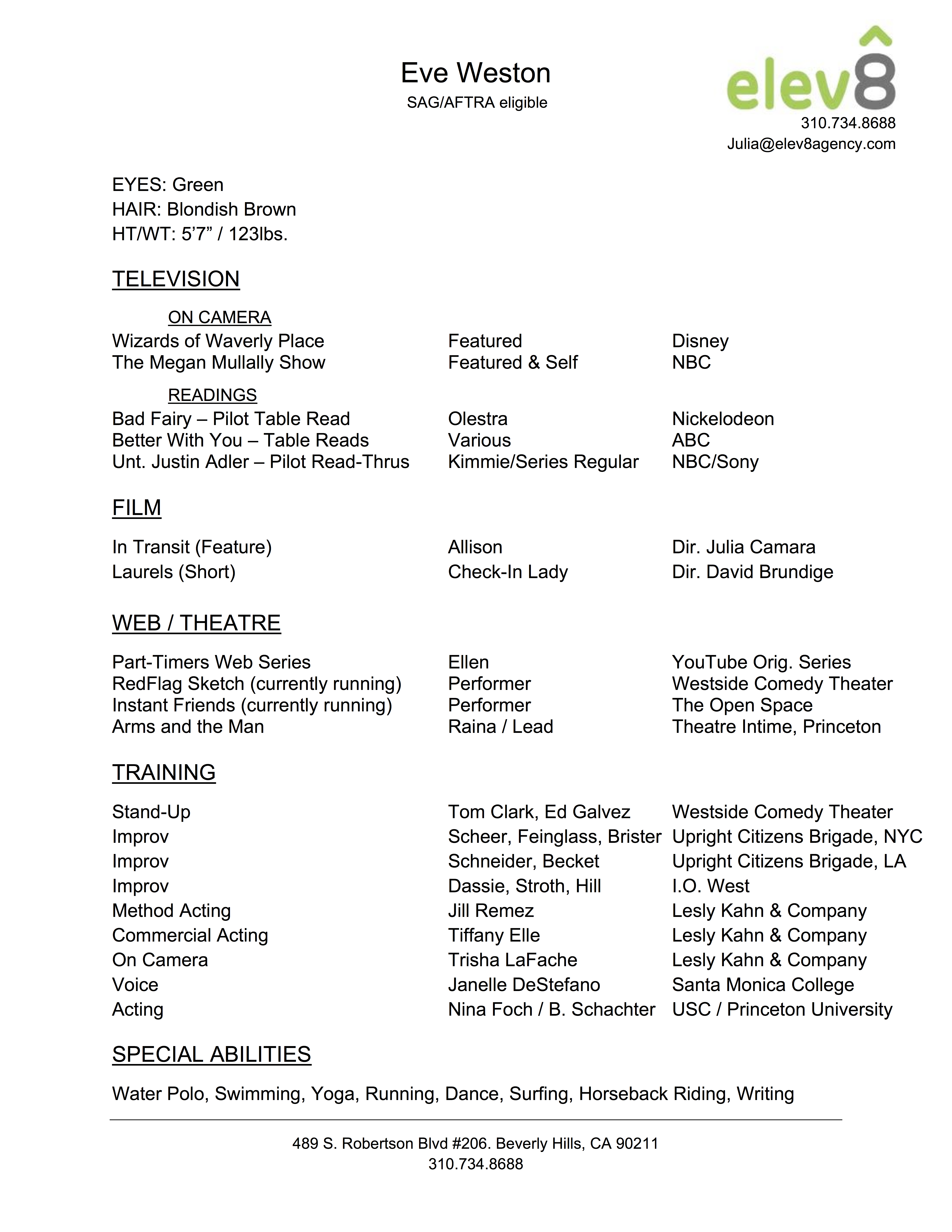 Acting Resume  What Does An Acting Resume Look Like